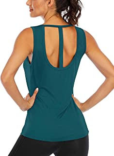 Fihapyli Workout Tank Tops for Women Racerback Stringer Sleeveless Shirt Sexy Open Back Loose Fit Athletic Running Tank Tops