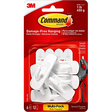 Command 17002-VP-6PK Small Hooks with Strips Value Pack (6 Hooks and 12 Small Adhesive Strips Each)