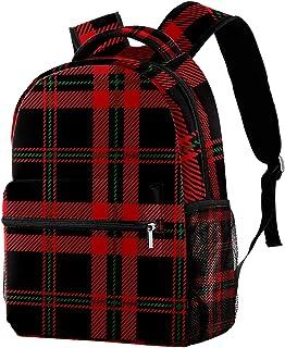 Mochila para estudiantes con diseño de cuadros escoceses, color rojo, negro y verde