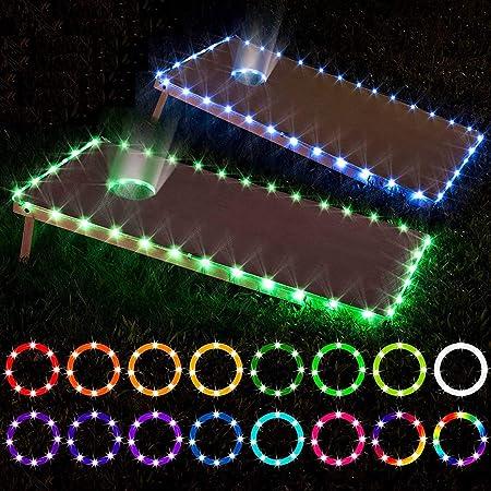 Waterproof LED Cornhole Ring Lights Kit for Cornhole Bags Tailgate Games,Yard Games Cornhole Boards Ring Lights One Set of Two Cornhole Lights Bean Bags