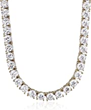 Platinum or Gold Plated Sterling Silver Tennis Necklace set with Round Cut Swarovski Zirconia, 17