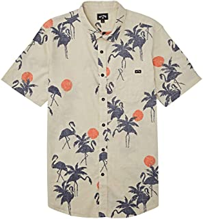 Men's Sundays Woven Floral and Small Scale Printed Pattern Short Sleeve Shirt