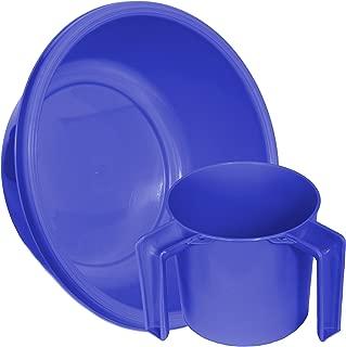 YBM Home Round Wash Cup & Round Wash Basin Netilat Yadayim, Negel Vasser Set Ba157-1147set (1, Blue)
