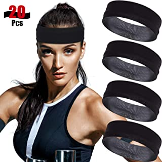 20 Packs Black Stretchy Headband Yoga Headbands, Stretchy Cotton Sports Head Band 2 Inch Wide Sweatband for Women Workout, Running, Yoga and More