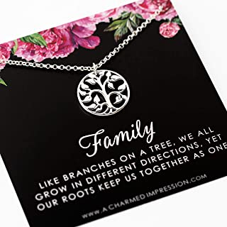Family Necklace • Tree of Life • 925 Sterling Silver • Keepsake Jewelry for 3 4 5 6 Women • Gift for Mother Sister Aunt Cousin Daughter Grandma • Grandmother of the Bride • Birthday Gifts for Mom