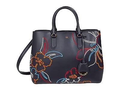 LAUREN Ralph Lauren Floral Embroidered Leather Marcy Satchel Large