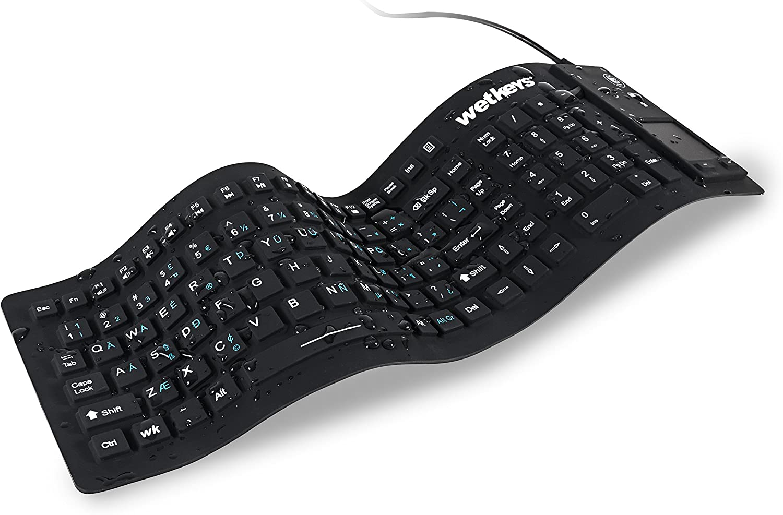 WetKeys Waterproof Flex-Touch Professional-Grade Keyboard w/Touchpad (USB) (Black)   KBWKFC103STi-BK