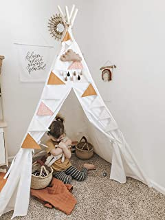 FUNNY SUPPLY Kids Teepee Tent for Kids Canvas Play Tent with Fairy Lights Feathers Mat Carry Case for Indoor Outdoor