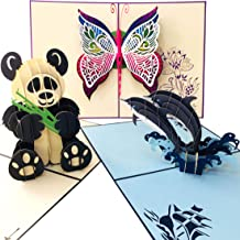 Pop Up Card 3 Pack   Handmade Greeting Cards Assortment for All Occasions   Pop Up Birthday Cards   Birthday Cards for Kids, Mom, Dad   Birthday Cards for Women   3D Cards   Panda, Dolphins, Butterfly