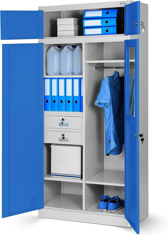 Mehrzweckschrank C117 Aktenschrank Büroschrank Metallschrank Spind Geheimfach Schubladen Stahlblech abschliebar 200 cm x 90 cm x 50 cm (grau blau)