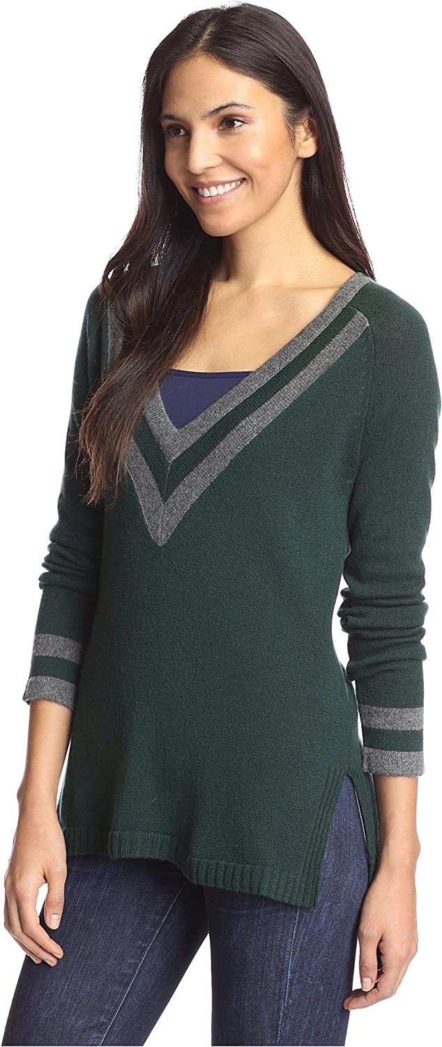 Cashmere Addiction Women's Tipped VNeck Tunic Sweater, Cypress Combo, S