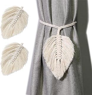 Dodheah 2Pcs Embrasses à Rideaux Attache Rideau Feuilles Faits Main Tassel Tressé Accessoires de Rideau Cravate de Rideau ...