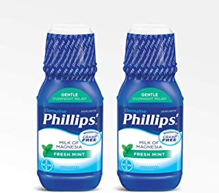 Phillips' Milk of Magnesia Laxative, Fresh Mint, 12 Fl Oz (Pack of 2)