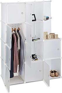 Étagère Cubes penderie Armoire Rangement 10 casiers Plastique modulable DIY HxlxP: 146x110x46 cm, Blanc