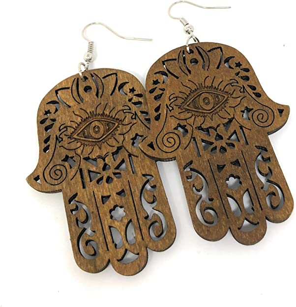 stainless steel nails  woman child gift party laser engraved Hamsa Cut Wooden Protective Hands earrings