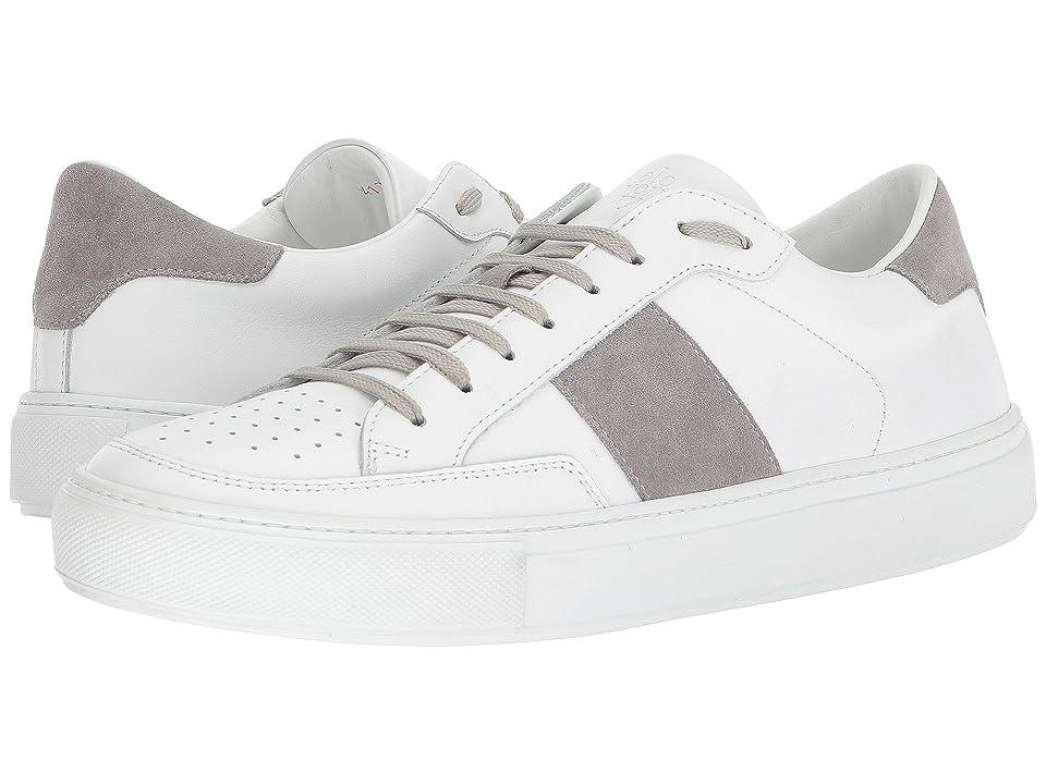 eleventy Suede Side Band Sneaker (White/Grey) Men