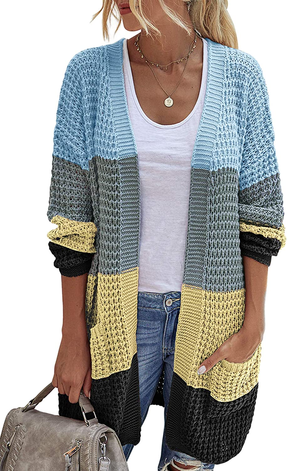 Alelly Womens Open Front Cardigan Long Sleeve Chunky Sweater, Knit Sweaters Coat
