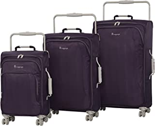 it luggage World's Lightest New York Softside 8 Wheel Spinner, Purple Pennant with Cobblestone Trim, 3-Piece Set (22/28/32)