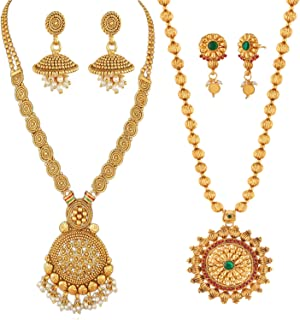 REEVA South Indian Gold-Plated Necklace and Earring Set for Women - Combo Pack