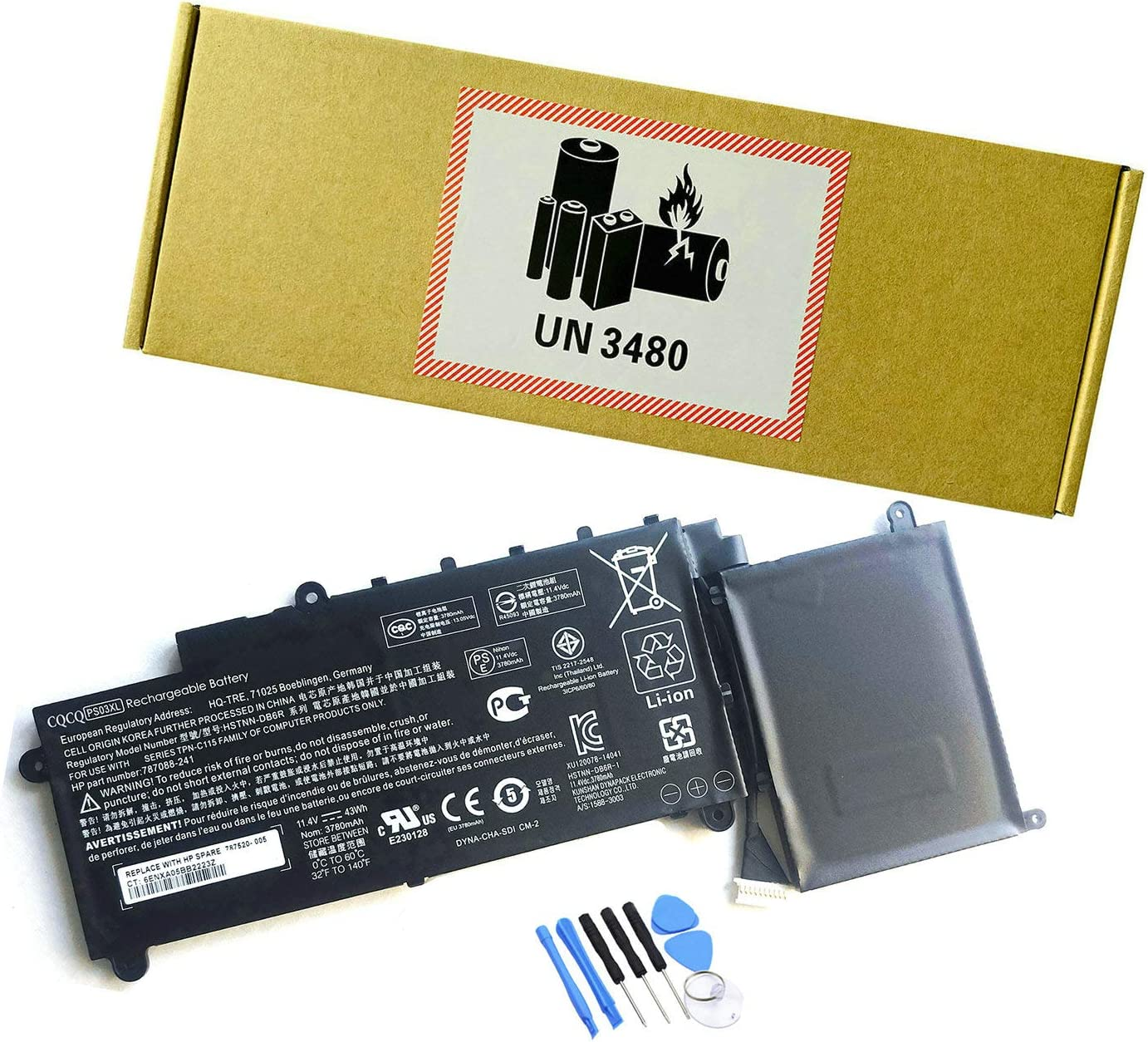 CQCQ Compatible PS03XL Battery Replacement for HP Pavilion X360 11-D010NR 11-D023TU 11-R000NG 11-R007TU 11-R008TU 11-R010NR 11-R050SA TPN-C115 HSTNN-DH6R [11.4V 43Wh]