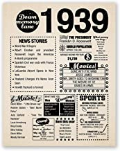 11x14 1939 Birthday Gift // Back in 1939 Newspaper Poster // 80th Birthday Gift // 80th Party Decoration // 80th Birthday Sign // Born in 1939 Print