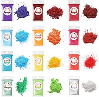 Erosom 12 Colors Mica Powder Pigments Soap Dye for Soap Coloring - Soap Making Colorants Set - 0.18oz 12 Bags - Skin Safe ...