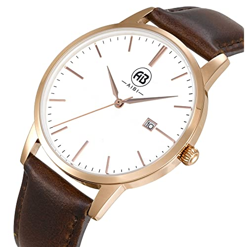 9c170117404 AIBI Men s Watch Classic Quartz Analog Business Wrist Egg White Face  Rosegold Case Watches with Date