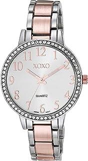اكس او اكس او ساعة للنساء لون فضي كوارتز بسوار معدني - XO5987AZ)