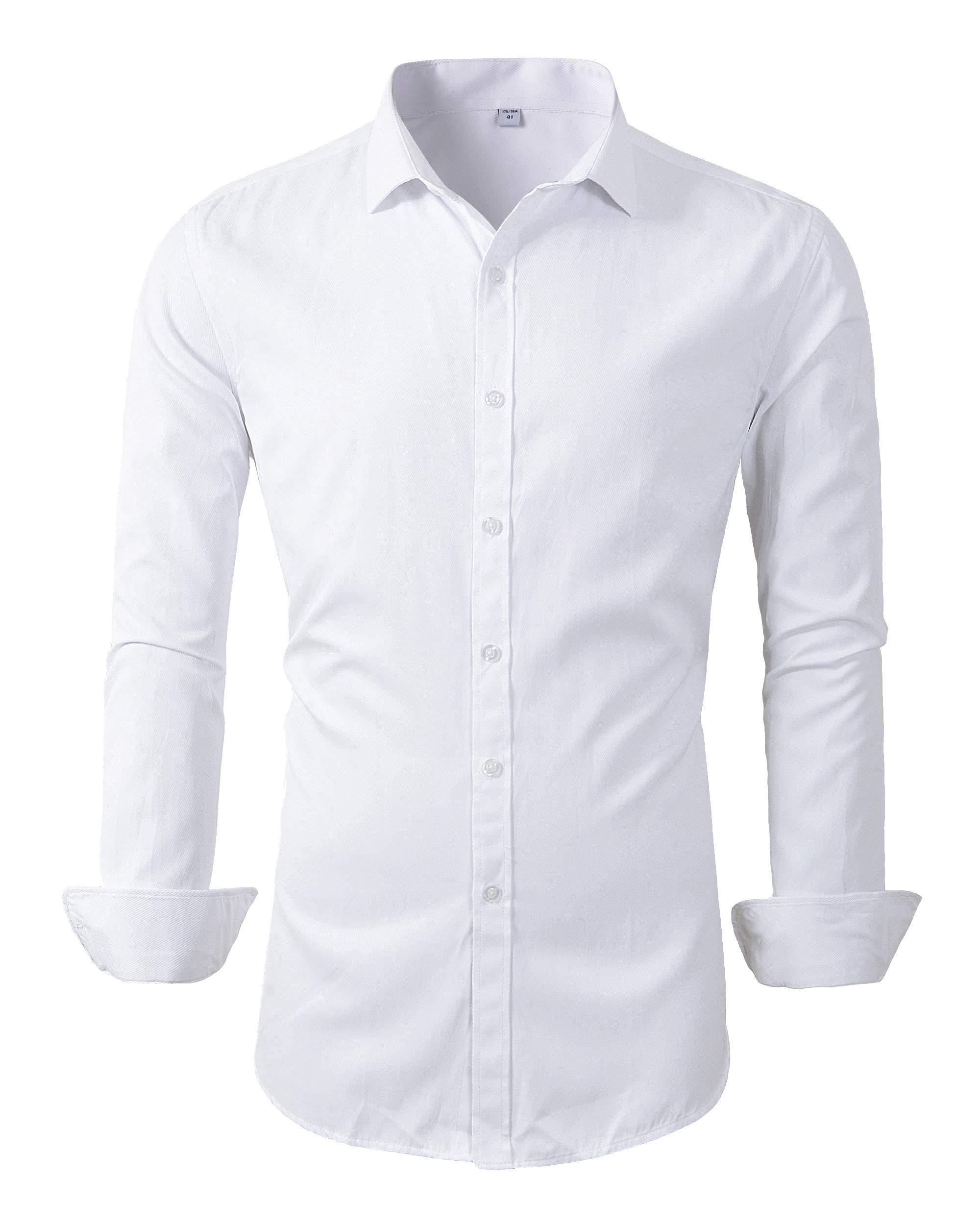 YFFUSHI Mens Slim Fit Plain Dress Shirt Long Sleeve Casual Button Down Shirts