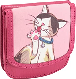 OWL Taxi Wallet Cats Small Folding Leather Minimalist Card Wallet for Women Coin Purse Pink