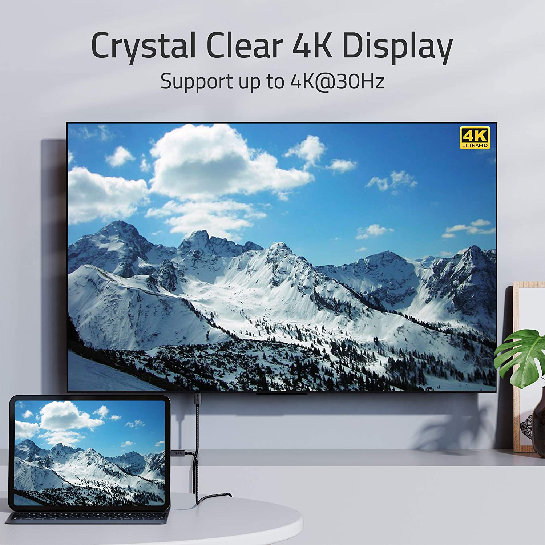 USB C to HDMI Cable 4K, USB-C Thunderbolt 3 Compatible to HDMI Cable Compatible with iMac 2021 MacBook Pro 2020, MacBook Air, iPad Mini 6, iPad Air Pro 2021, Samsung Galaxy S10,S9 and More - 6 feet
