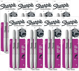 Sharpie 39108PP Fine Point Metallic Silver Permanent Marker, 8 Blister Packs with 2 Markers each for A Total of 16 Markers