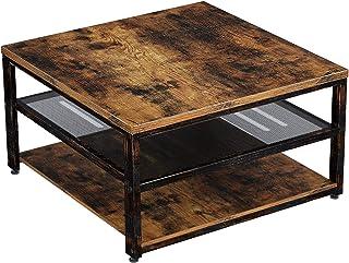 """Rolanstar Coffee Table with Storage Shelf, 31.5"""" Square Wood Coffee Table, 3-Tier Rustic Coffee Table with Storage Metal S..."""