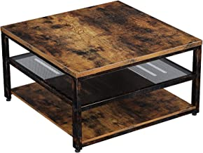 Rolanstar Industrial Coffee Table with Storage Shelves 3-Tier Square Cocktail Table for Living Room, Retro Wood Sofa Table...