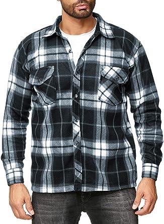 EGOMAXX Chaqueta de transición de vellón para Hombre Camisa de leñador con Aspecto de Franela a Cuadros