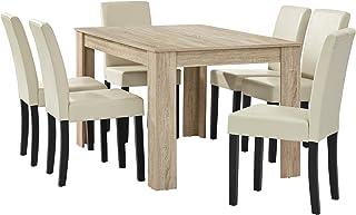 [en.casa] Table à Manger chêne Brilliant avec 6 chaises crème Cuir-synthétique rembourré140x90