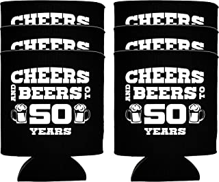 NeeNoNex Cheers And Beers To 50 Years Insulated Can Coolie Coolers (12, Blk, 50 Years)