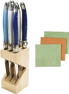 Bundle of Jean Dubost Laguiole 6 Stainless Steel Steak Knives Handles in Wooden Block With BONUS 3-pk Sponge Cloths (Marina)