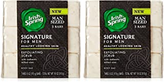 Irish Spring Signature For Men Exfoliating Scrub Body Bar Soap w/ Authentic Milled Oats for Healthy Looking Skin– 6oz, 6 Bars Total