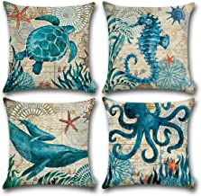 CARRIE HOME Nautical Pillows Decor Octopus/Seahorse/Whale/Turtle Decorative Throw Pillow..