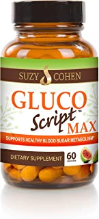 GlucoScript MAX with Fig Fruit, Cinnamon, Gymnema and Blueberry to Manage Glucose, Insulin, Cholesterol and Carbohydrate Metabolism - Support Healthy Eyes, Heart, Kidney and Skin with Formula by Suzy