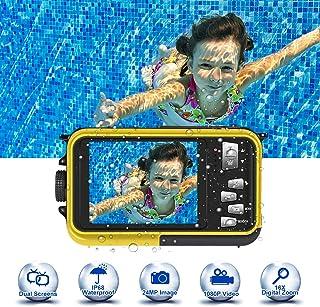 Camara Acuatica Camara Sumergibles 24.0MP 1080P 3.0 Metro Camara Acuatica Submergible Disparo Macro Camara Fotos Acuatica Completamente Sellada Pantalla Doble LCD de 2.7 Pulgadas