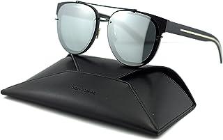 cbc5af6e4c Dior Homme Black Tie 143SA Round Unisex Sunglasses (Matte Shiny Black Grey  Flash Mirror