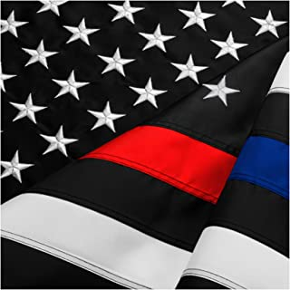 Best FBNC Thin Blue Line & Thin Red Line Flag 3x5 Ft: Durable Nylon with Embroidered Stars and Brass Grommets - Proud to be a Police and Fire Officer Review