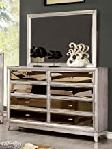 Furniture of America Sterling Contemporary Dresser and Mirror, Silver