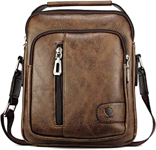 Elios Coffee PU Leather Trendy Designer Large Capacity Multi-Utility Travel Work Wear Messenger Bag for Men