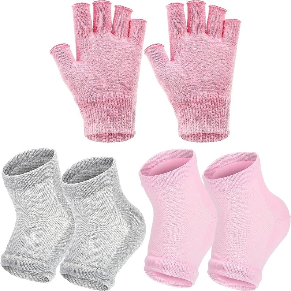 Bememo 3 Pairs Spa Moisturising Socks and Gloves Set, Moisture Open Toe Gel Heel Socks Gel Hand Fingerless Moisturizing Gloves (Pink and Grey)