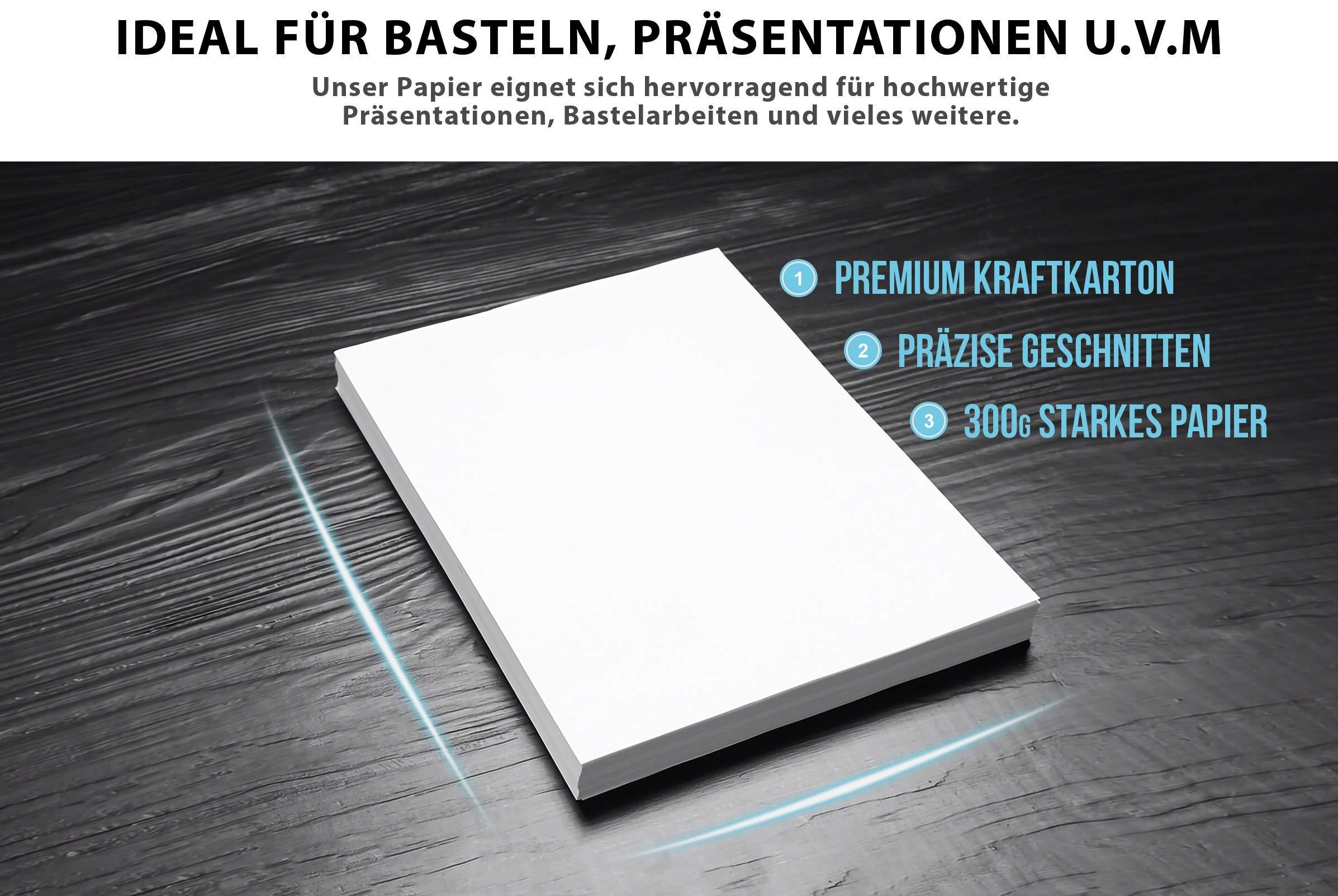 50 BLANCO cartón artesanal 300 g/m² - PAPEL PREMIUM blanco puro - A4-21 x 29,7 cm - papel de impresión blanco sin imprimir para fotografía, presentaciones, manualidades, scrapbooking, cartón: Amazon.es: Oficina y papelería