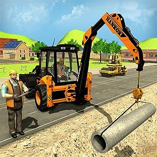 Cidade Road Builder Pipe Line & Cidade Construção Escavadeira Simulador Guindaste jogos para crianças Carregador Truck Sim...