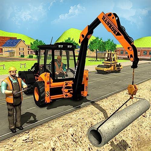 City Road Builder Pipe Line & Town Bau Bagger Simulator Crane Spiele für Kinder Loader Truck Sim kostenlose Spiel 2018